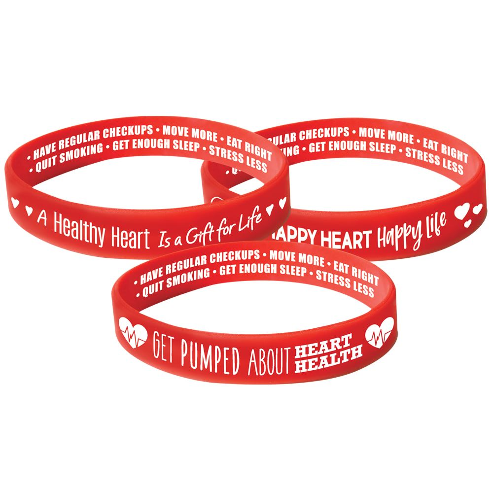 Red Silicone 2-Sided Awareness Bracelets Assortment Pack - Pack of 30