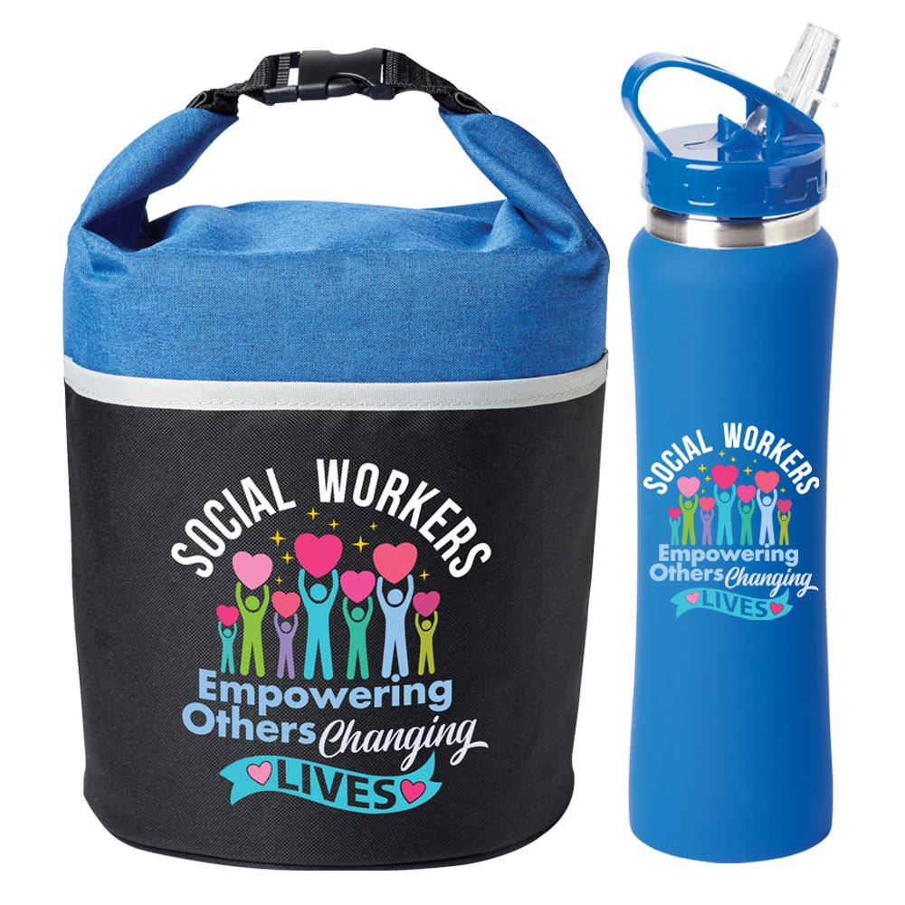 Social Workers: Empowering Others, Changing Lives Water Bottle and Lunch/Cooler Bag Gift Set