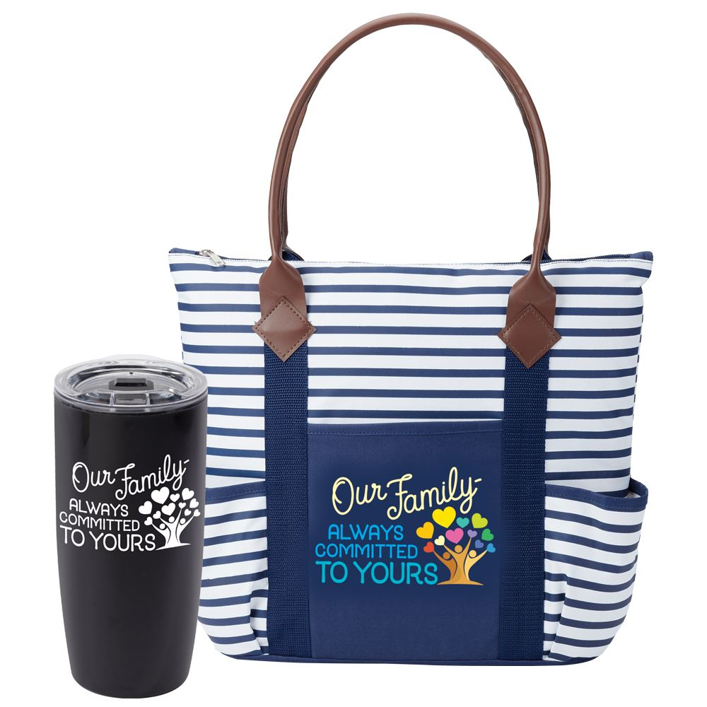 Our Family: Always Committed To Yours Sierra Insulated Acrylic Tumbler 19-OZ. & Nantucket Tote Bag Gift Set
