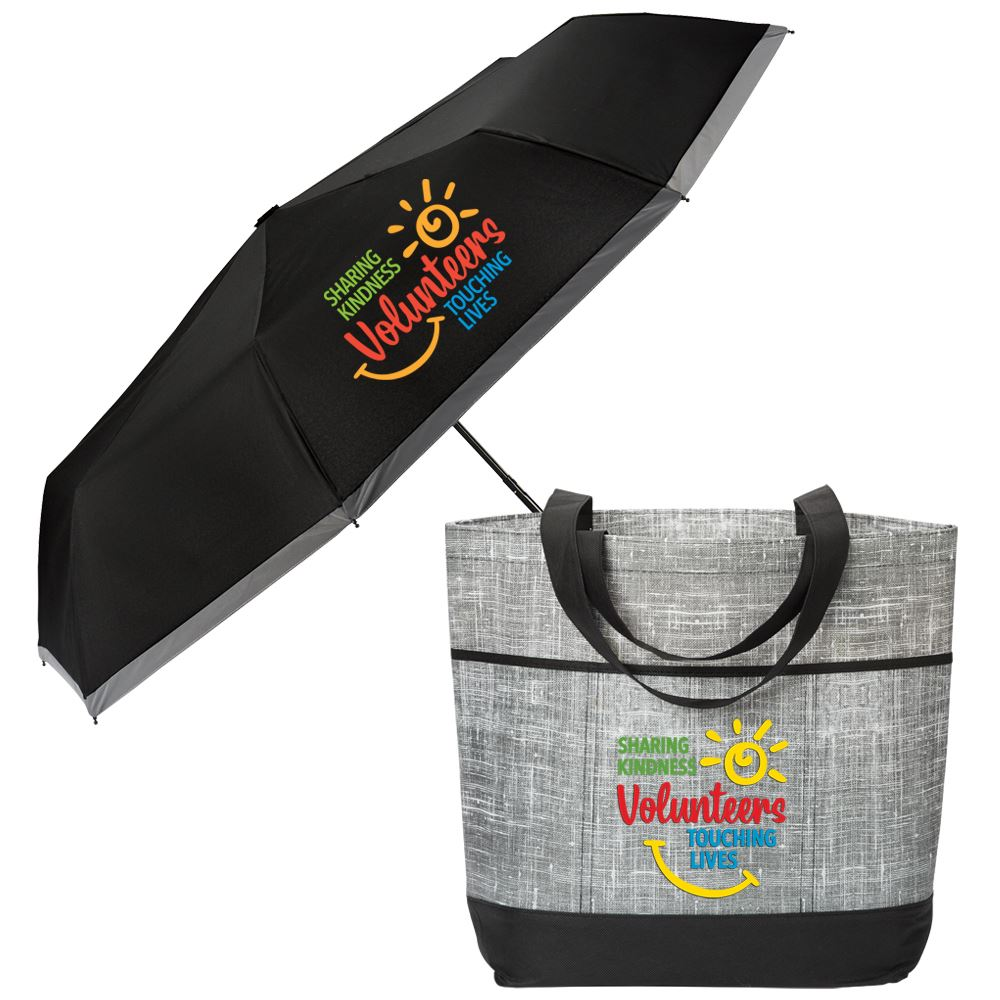 Volunteers: Sharing Kindness, Touching Lives Mailbu Non-Woven Tote Bag & Clip Umbrella Combo
