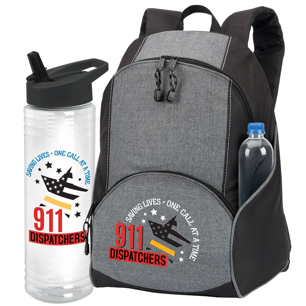 911 Dispatchers Saving Lives One Call At A Time Aspen Backpack & Solara Water Bottle Gift Set