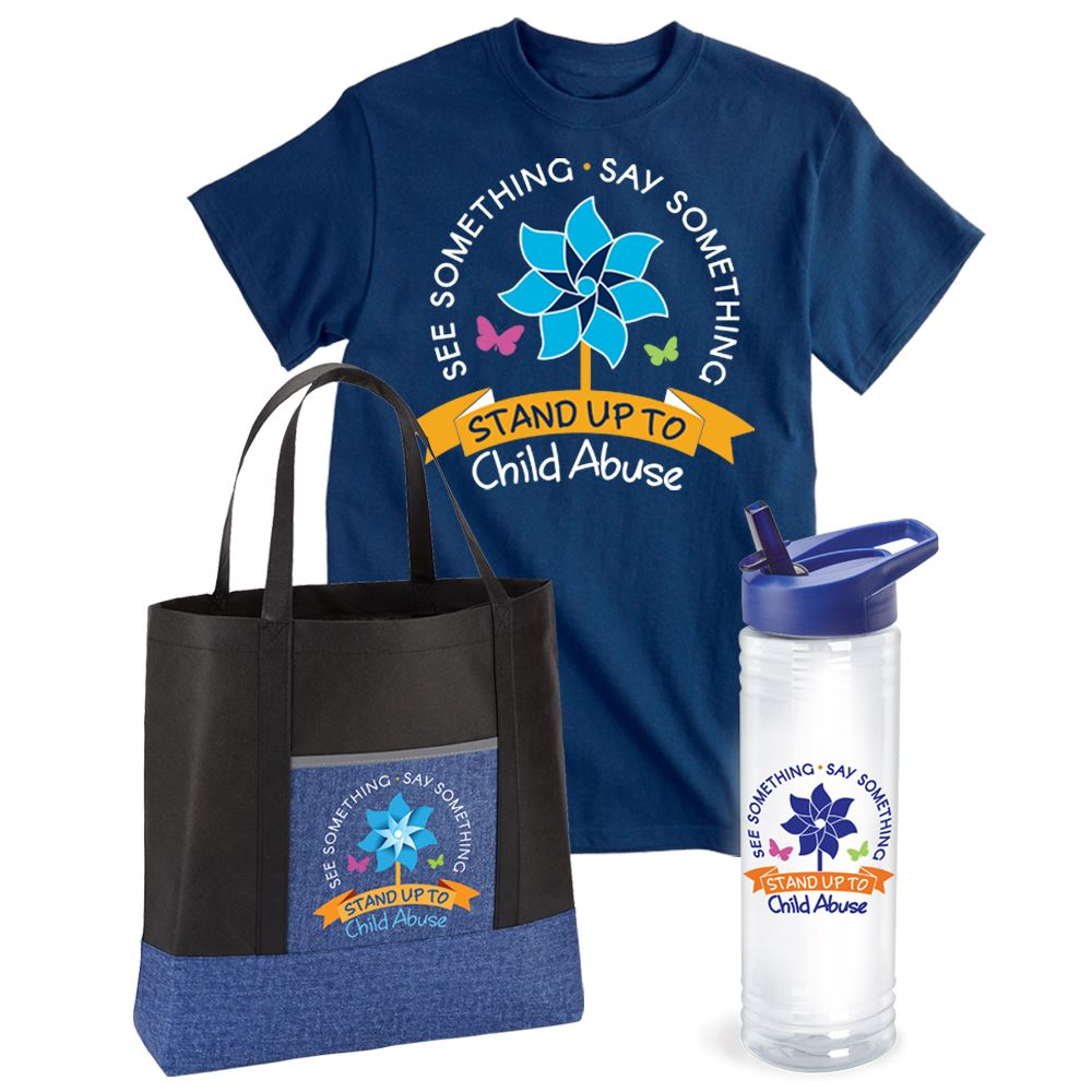 See Something. Say Something. Stand Up To Child Abuse Tote, T-Shirt & Water Bottle Gift Set