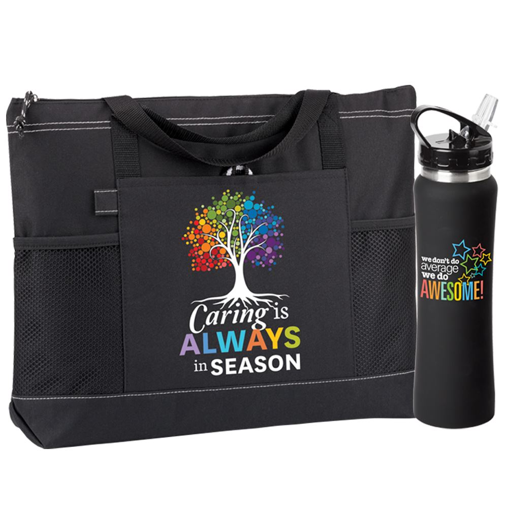 Caring Is Always In Season Moreno Tote & Solara Water Bottle Combo