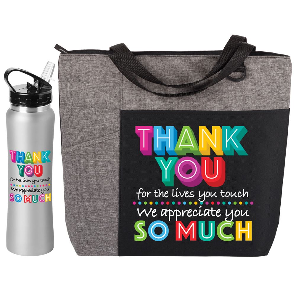 Thank You For The Lives You Touch We Appreciate You So Much Ashland Tote Bag & Lakewood Water Bottle Combo