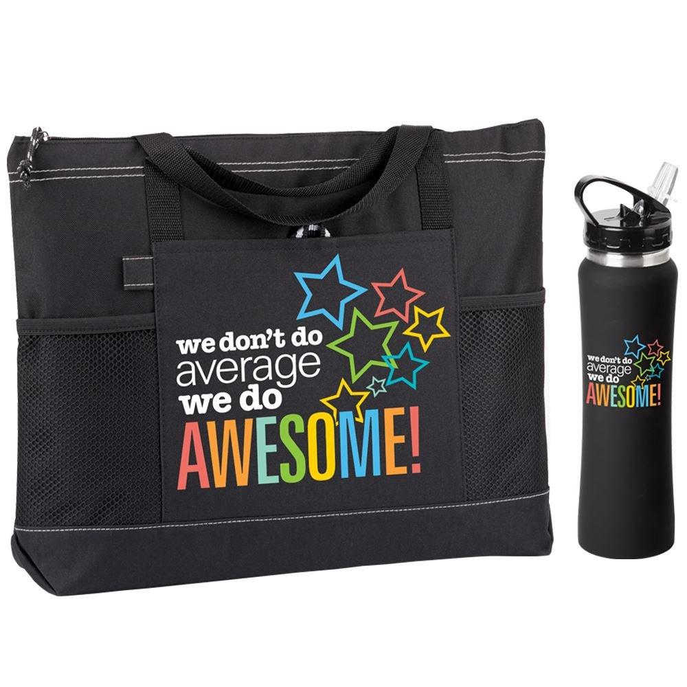 We Don't Do Average We Do Awesome Moreno Tote Bag & Lakewood Water Bottle Gift Set