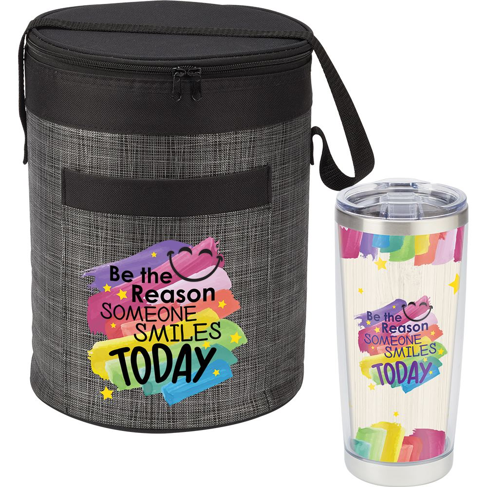 Be The Reason Someone Smiles Today Brookville Barrel Cooler Bag & Full-Color Insulated Tumbler Gift Set