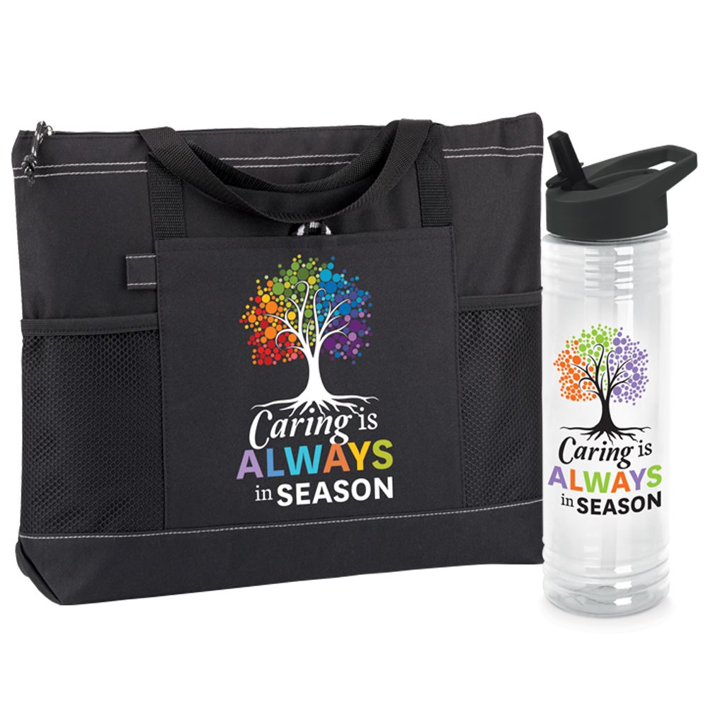 Caring Is Always In Season Moreno Tote & Solara Water Bottle Gift Set