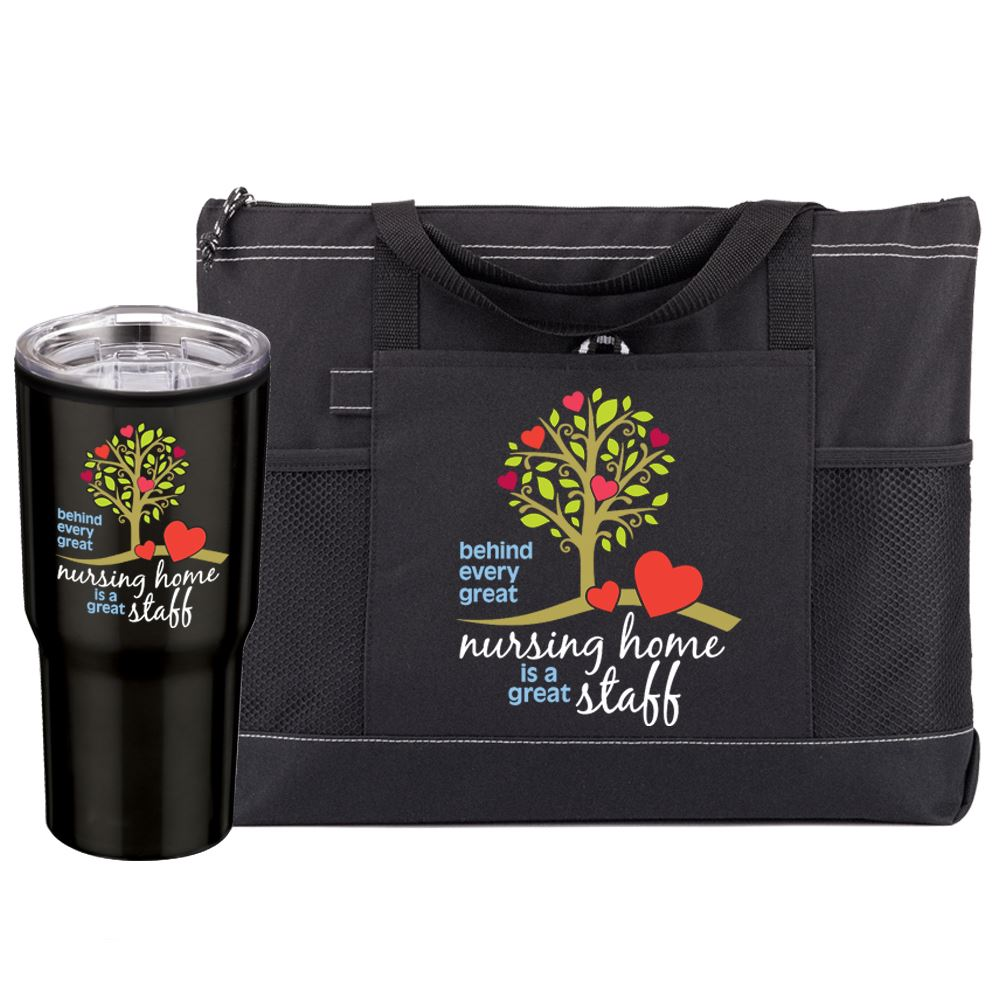 Behind Every Great Nursing Home Is A Great Staff Travel Tumbler & Tote Bag Gift Set
