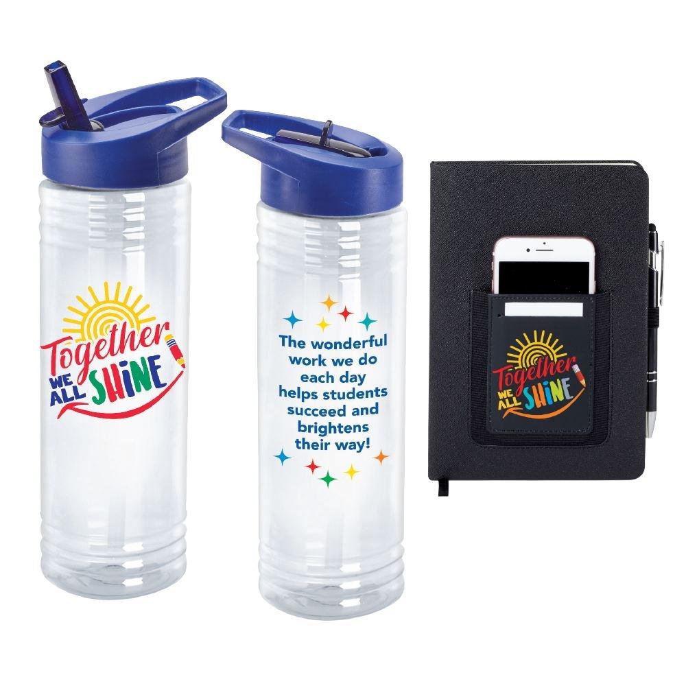 Together We All Shine- Solara Water Bottle & Northfield Phone Pocket Journal Combo