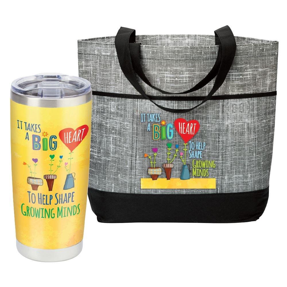 It Takes A Big Heart To Shape Growing Minds- Insulated Tumbler & Malibu Tote Bag Combo