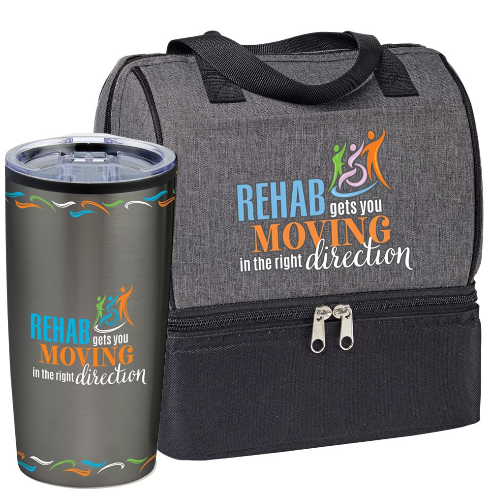 Rehab Gets You Moving In The Right Direction Tumbler & Lunch/Cooler Bag Gift Set