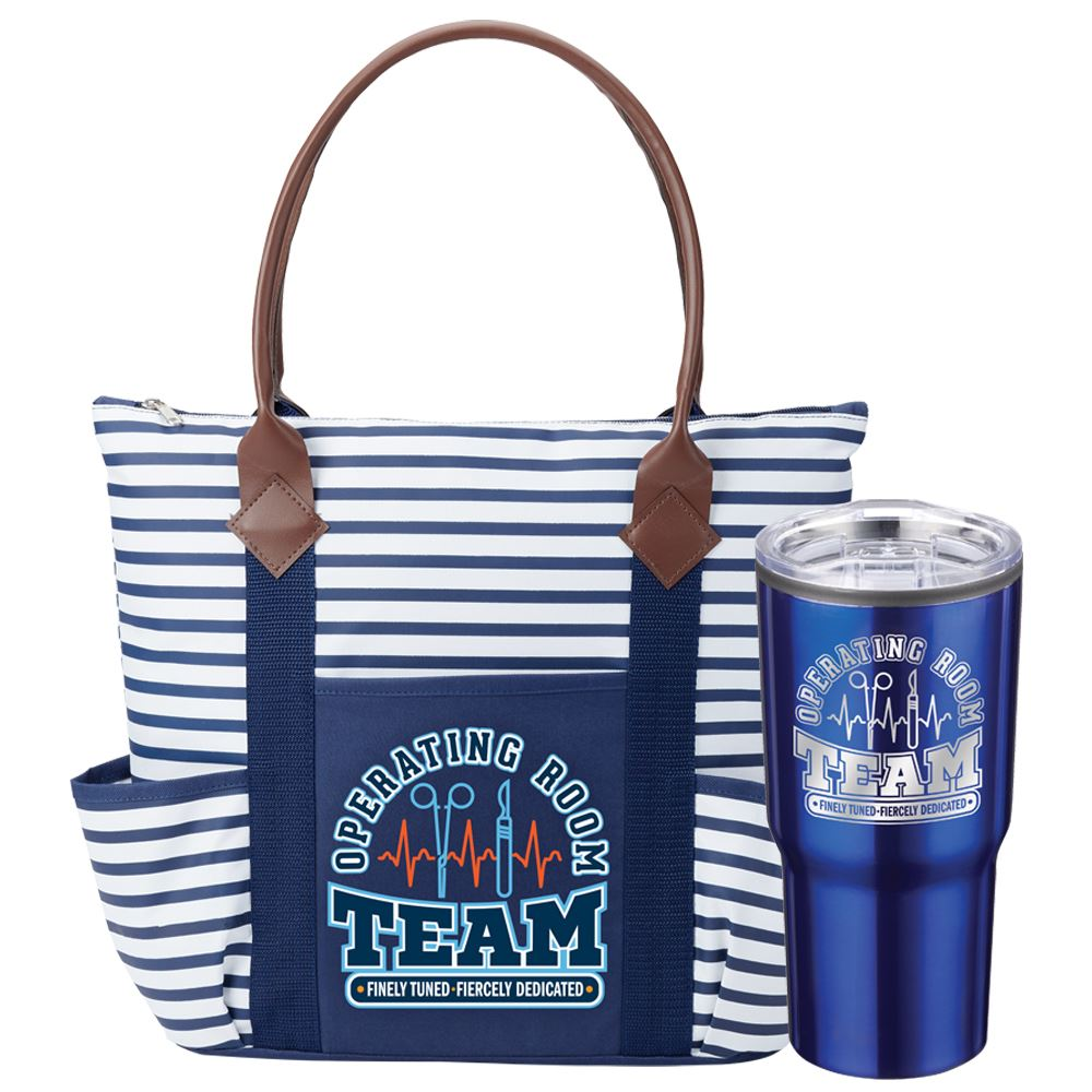 Operating Room Team: Finely Tuned, Fiercely Dedicated Nantucket Tote Bag & Timber Insulated Stainless Steel Travel Tumbler 20-Oz.