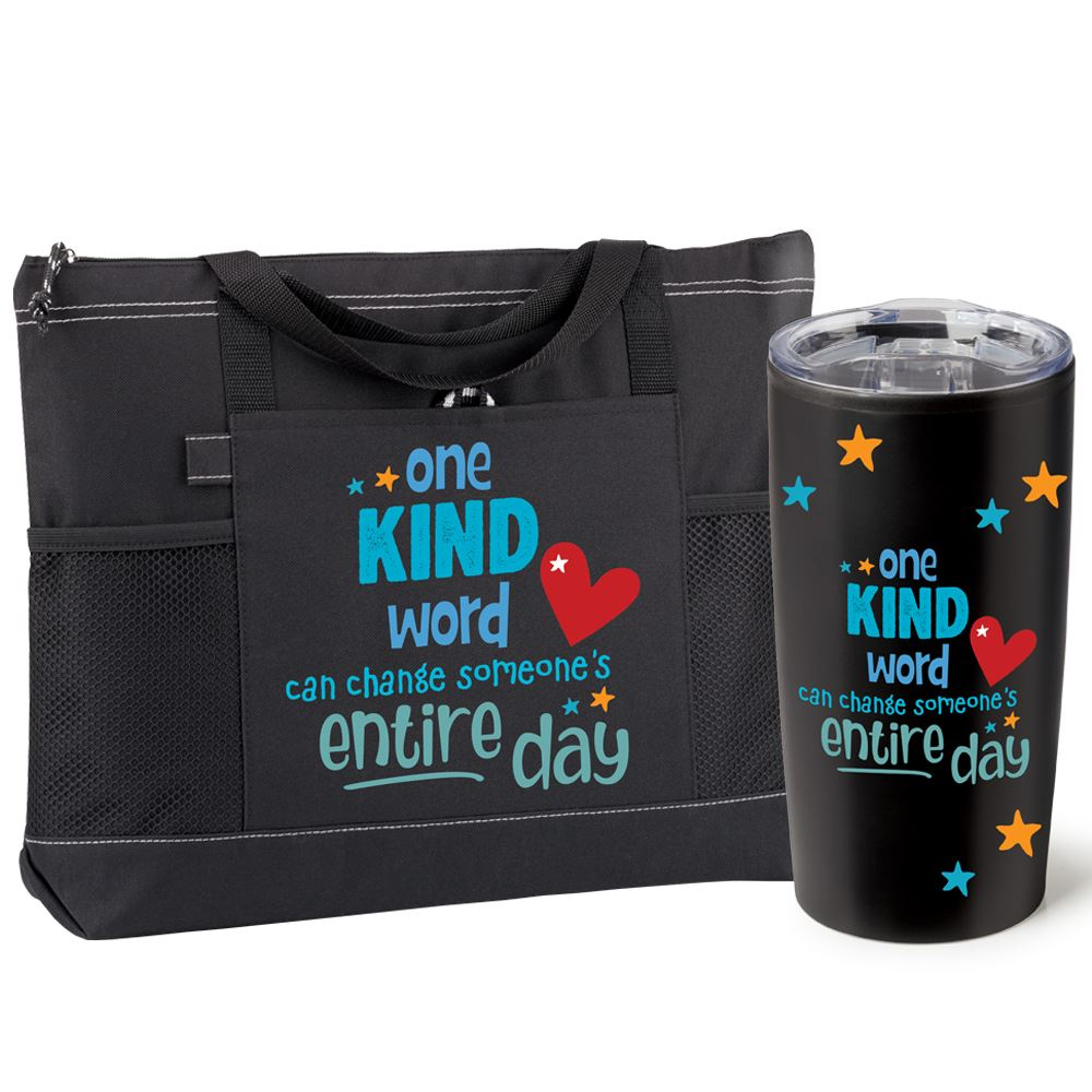 One Kind Word Can Change Someone's Entire Day Moreno Tote Bag & Teton Tumbler Combo