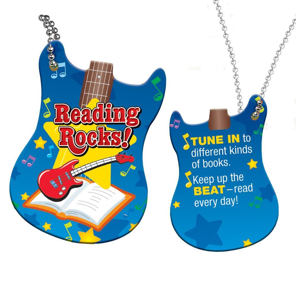 "Reading Rocks! Award Tag With 4"" Chain"