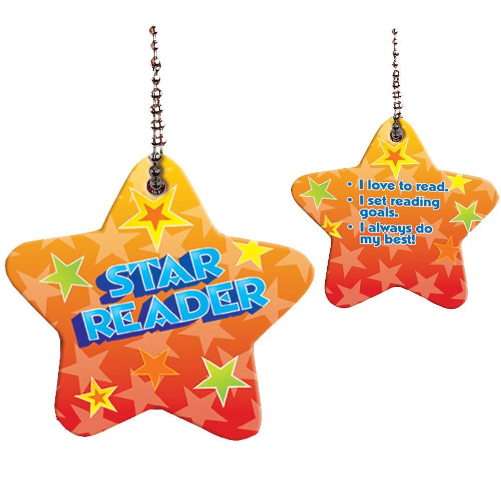 """Star Reader Award Tags With 4"""" Chains - Pack of 25"""