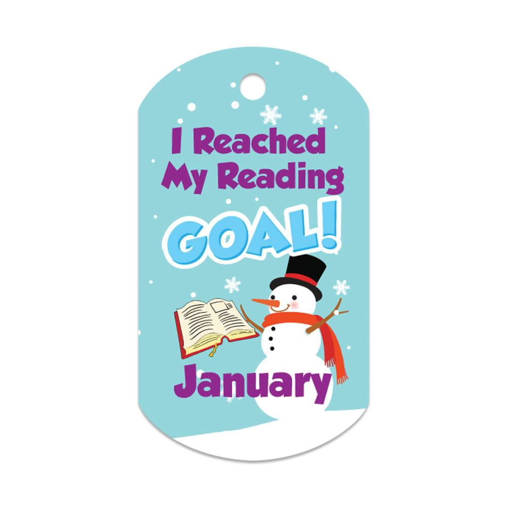 "I Reached My Reading Goal January Award Tag With 24"" Chain"