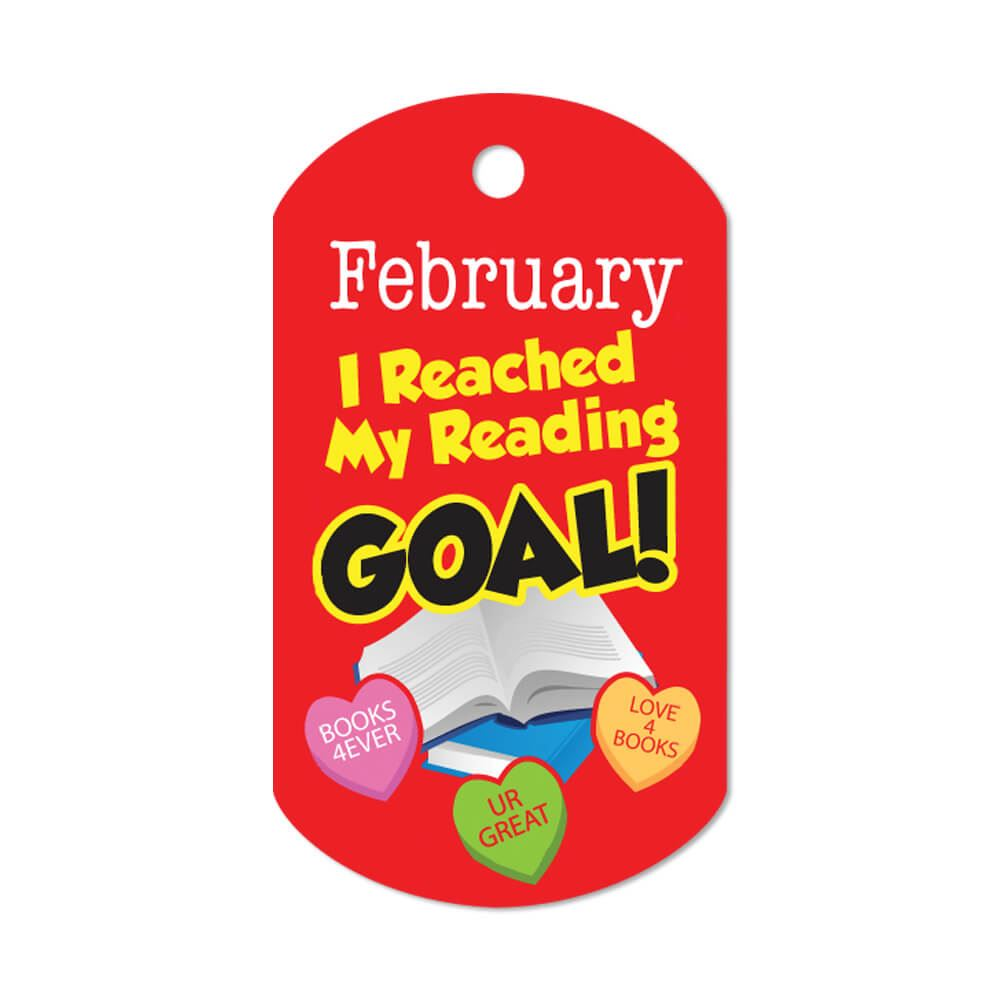 """I Reached My Reading Goal February Award Tags With 24"""" Chains - Pack of 25"""
