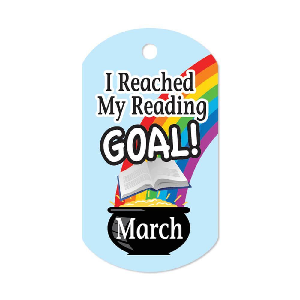 """I Reached My Reading Goal March Award Tags With 24"""" Chains - Pack of 25"""