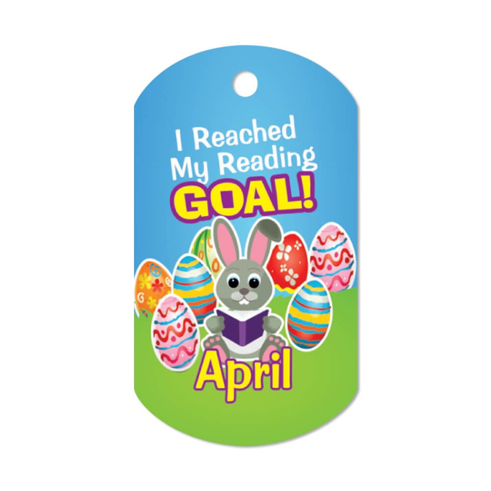 """I Reached My Reading Goal April Award Tags With 4"""" Chains - Pack of 25"""
