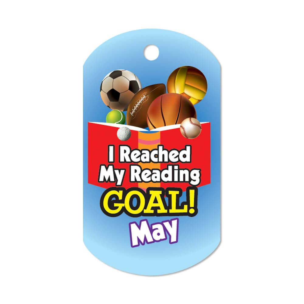 """I Reached My Reading Goal May Award Tags With 4"""" Chains - Pack of 25"""