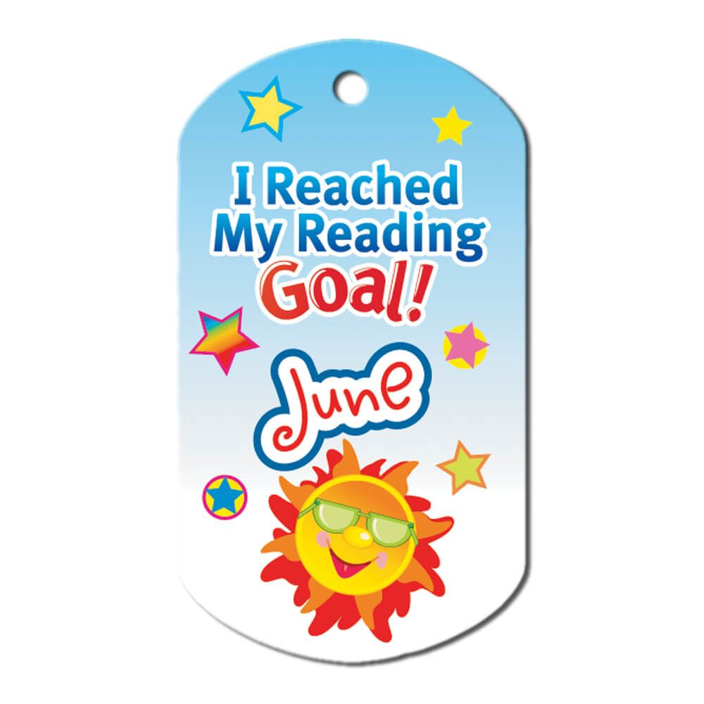 """I Reached My Reading Goal June Award Tag With 24"""" Chain"""