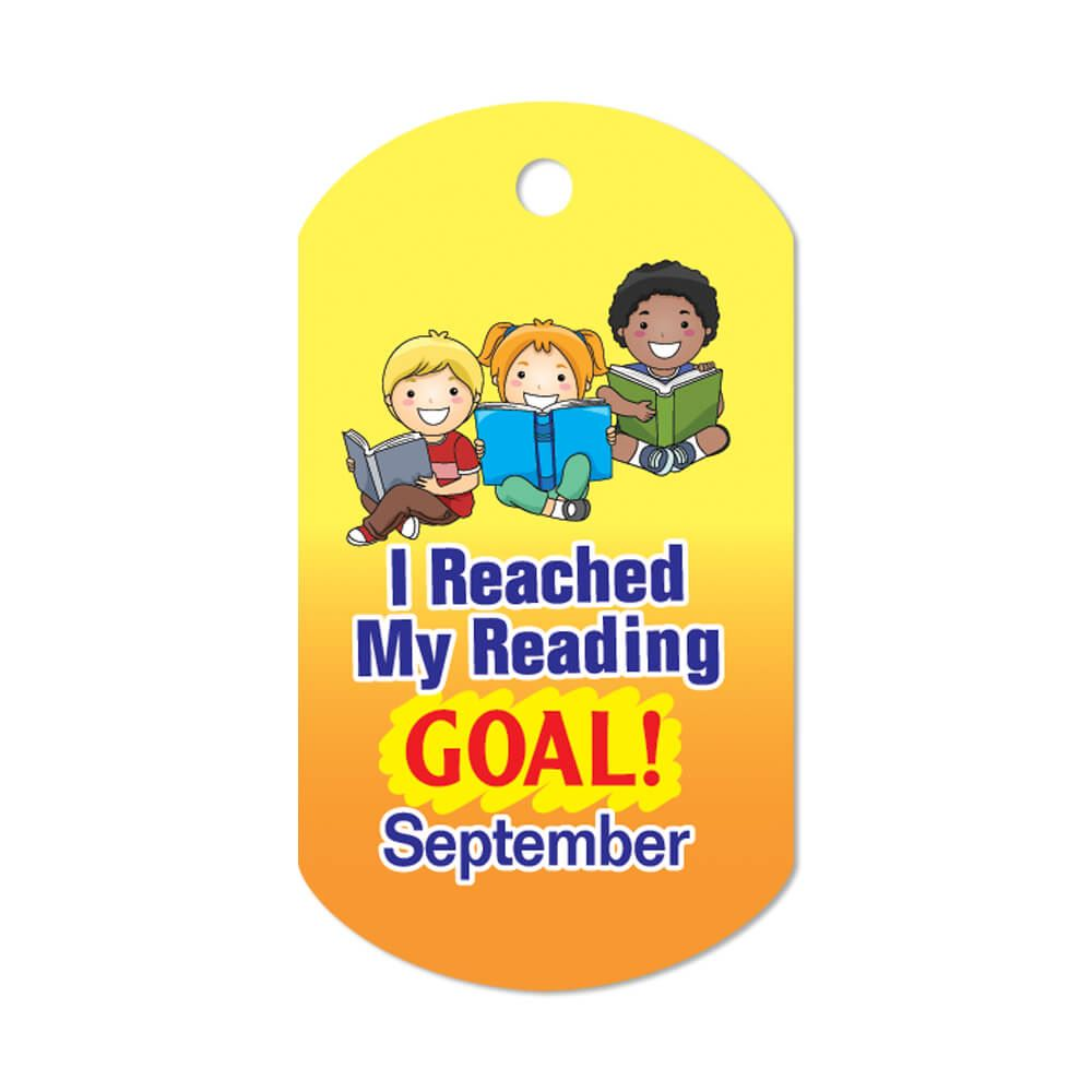 """I Reached My Reading Goal September Award Tags With 24"""" Chains - Pack of 25"""