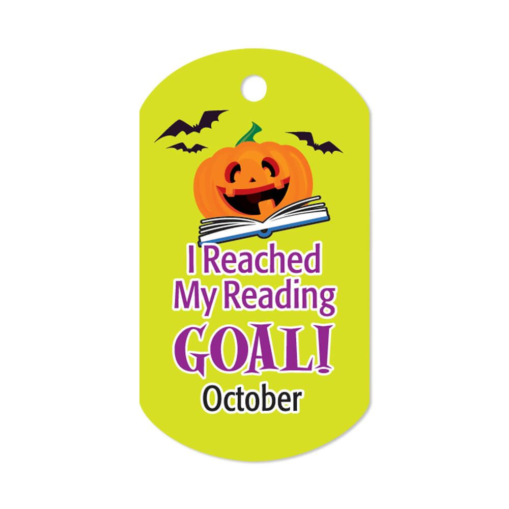 """I Reached My Reading Goal October Award Tags With 4"""" Chains - Pack of 25"""