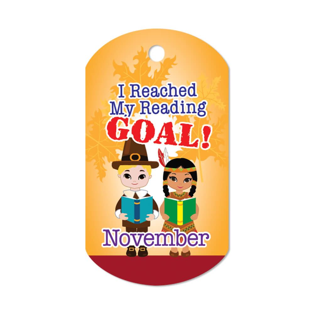 """I Reached My Reading Goal November Award Tags With 4"""" Chains - Pack of 25"""