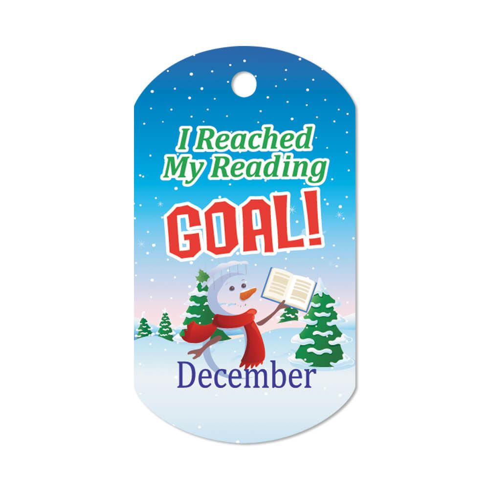 """I Reached My Reading Goal December Award Tags With 24"""" Chains - Pack of 25"""