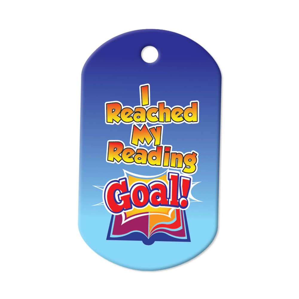 """I Reached My Reading Goal! Tags With 4"""" Chains - Pack of 25"""