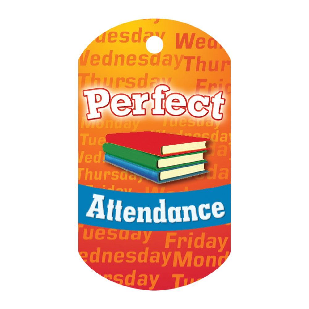 """Perfect Attendance (Books) Laminated Tags With 4"""" Chains - Pack of 25"""