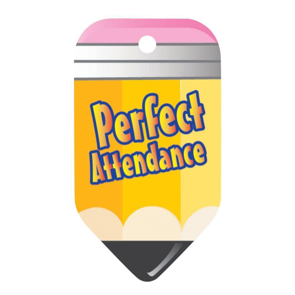 """Perfect Attendance Pencil Laminated Tags With 4"""" Chains - Pack of 25"""
