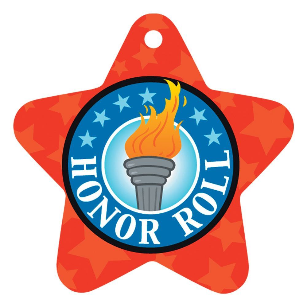 """Honor Roll Star-Shaped Torch Design Award Tag With 4"""" Chain"""