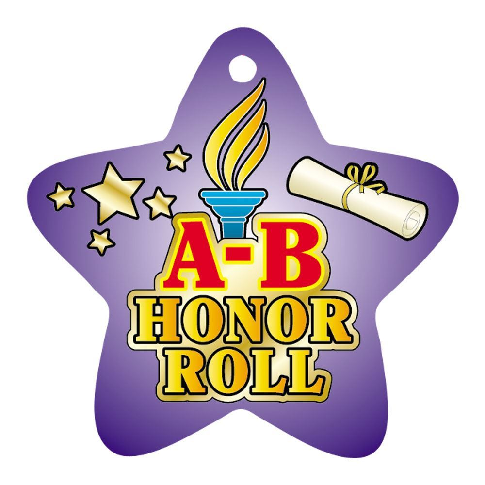 """A-B Honor Roll Purple Star-Shaped Award Tags With 4"""" Chains - Pack of 25"""
