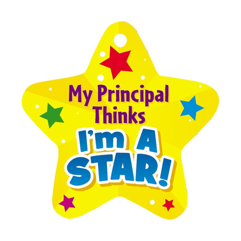 """My Principal Thinks I'm A Star! Award Tags With 4"""" Chains - Pack of 25"""