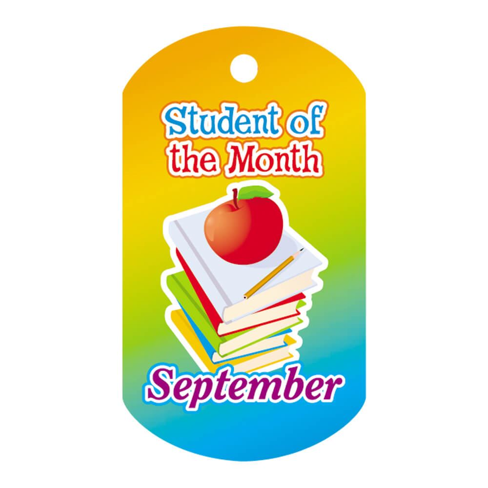 """Student Of The Month September Award Tag With 4"""" Chain"""