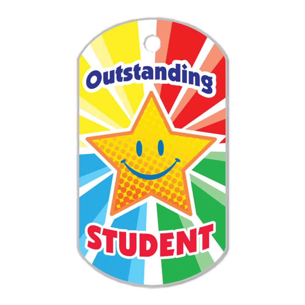 "Outstanding Student Laminated Award Tags With 24"" Chains - Pack of 25"