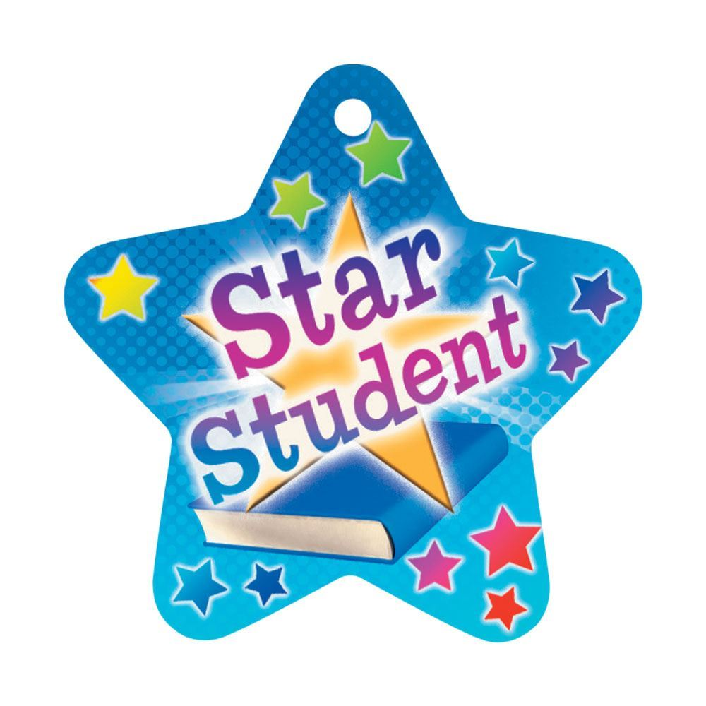 """Star Student Star-Shaped Award Tags With 24"""" Chains - Pack of 25"""