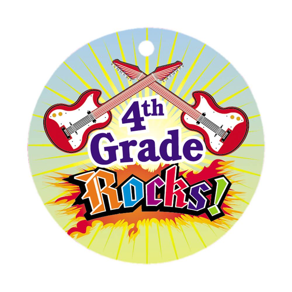 4th Grade Rocks! Round-Shaped Award Tag With 24