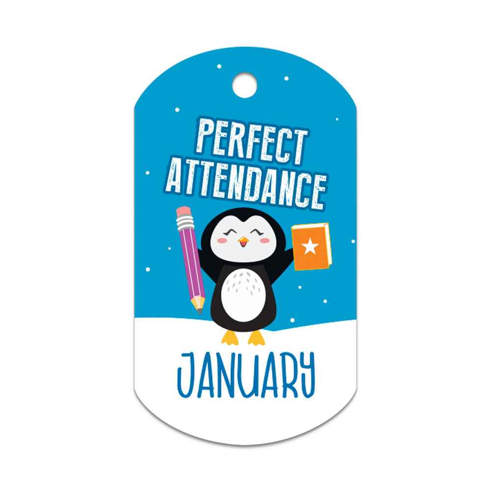 "Perfect Attendance January Laminated Tags With 4"" Beaded Chains - Pack of 25"