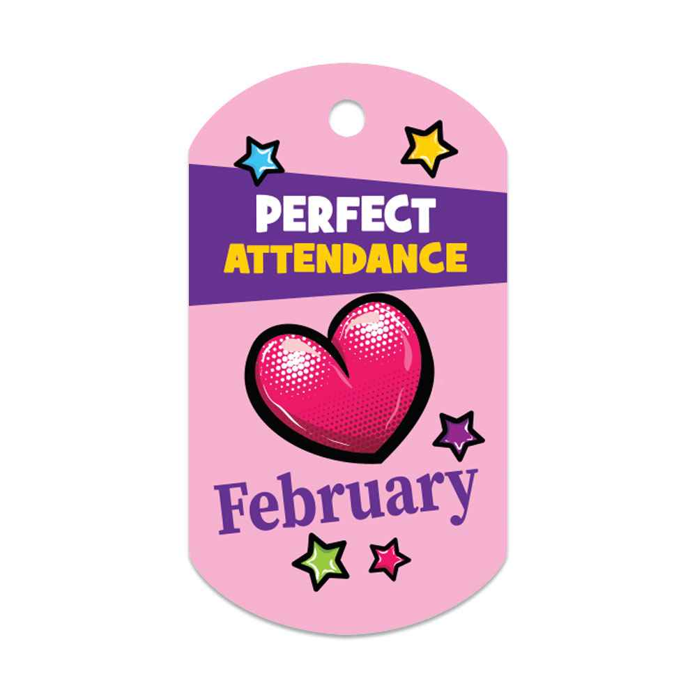 """Perfect Attendance February Laminated Tags With 4"""" Chains - Pack of 25"""