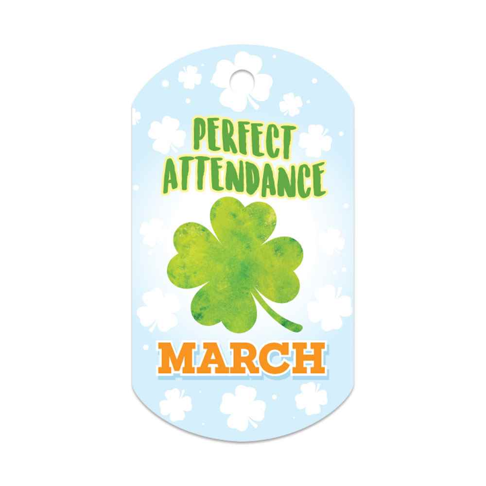 "Perfect Attendance March Laminated Tags With 4"" Chains - Pack of 25"