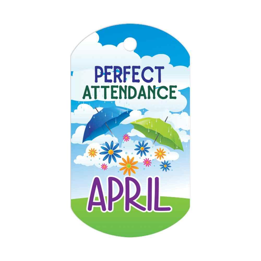 "Perfect Attendance April Laminated Tags With 24"" Chains - Pack of 25"