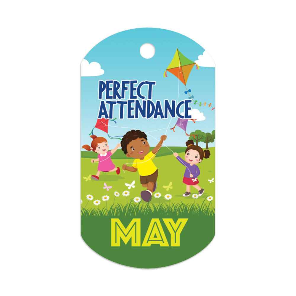 """Perfect Attendance May Laminated Tags With 4"""" Chains - Pack of 25"""