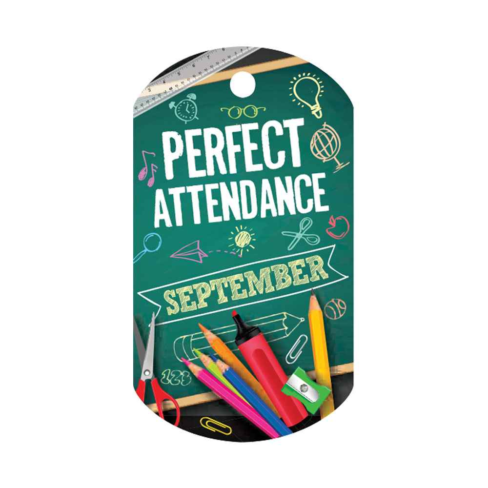 "Perfect Attendance September Laminated Tags With 4"" Chains - Pack of 25"