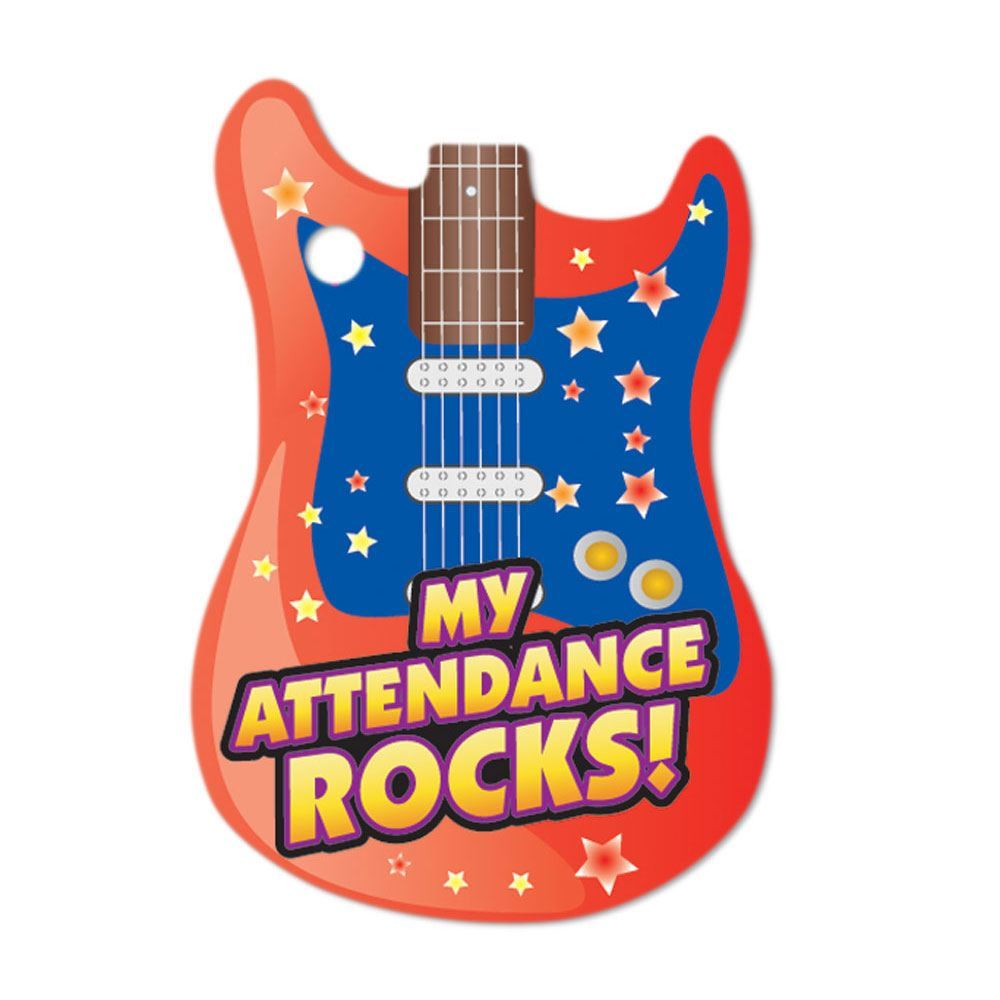 """My Attendance Rocks Tags With 24"""" Beaded Chains - Pack of 25"""