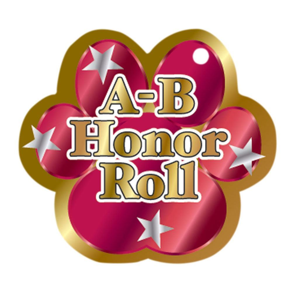 "A-B Honor Roll Red Paw Award Tags With 4"" Chains - Pack of 25"