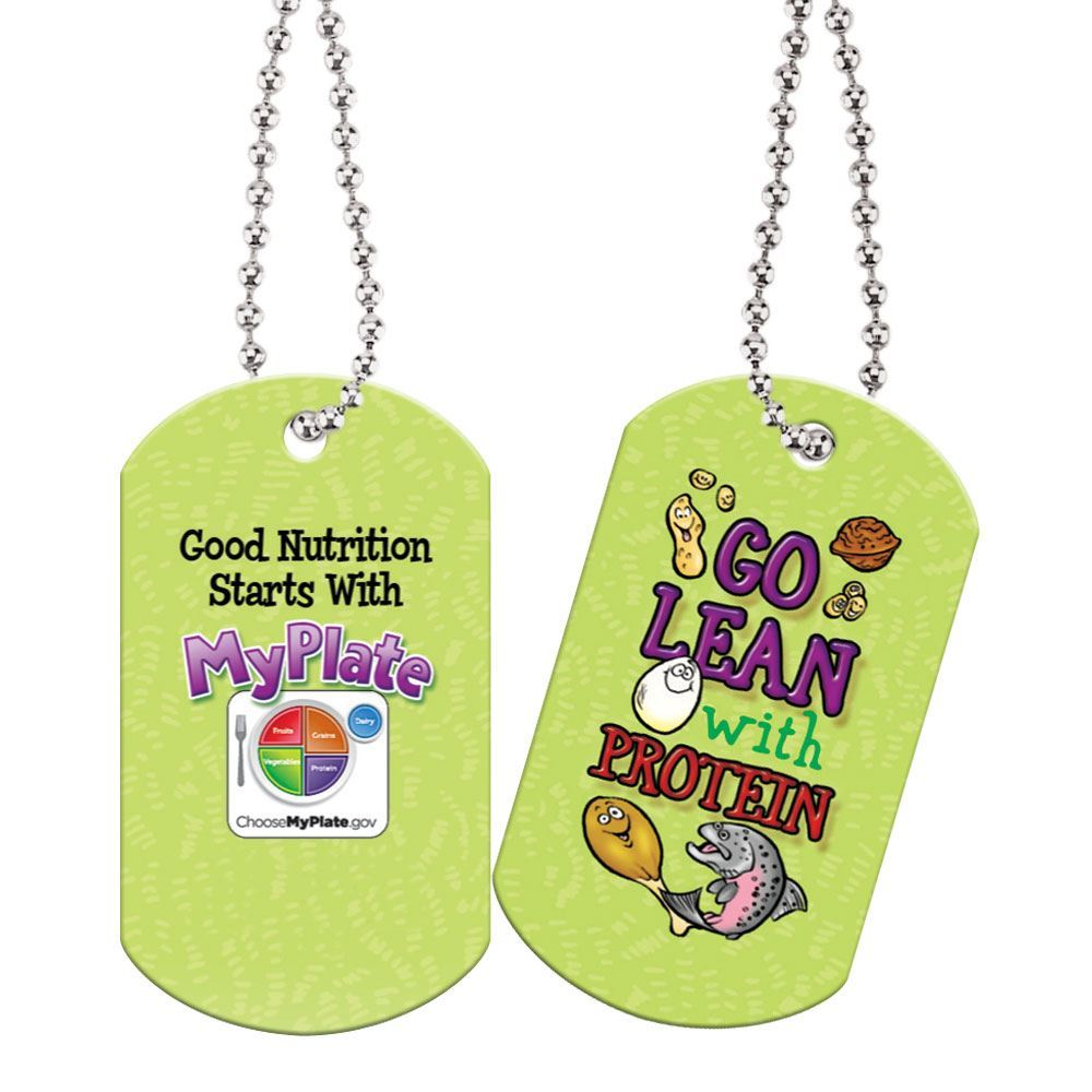 "Go Lean With Protein Laminated Dog Tags With 24"" Chains"