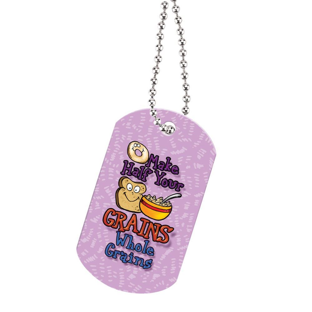 "Make Half Your Grains Whole Laminated Dog Tags With 24"" Chain"