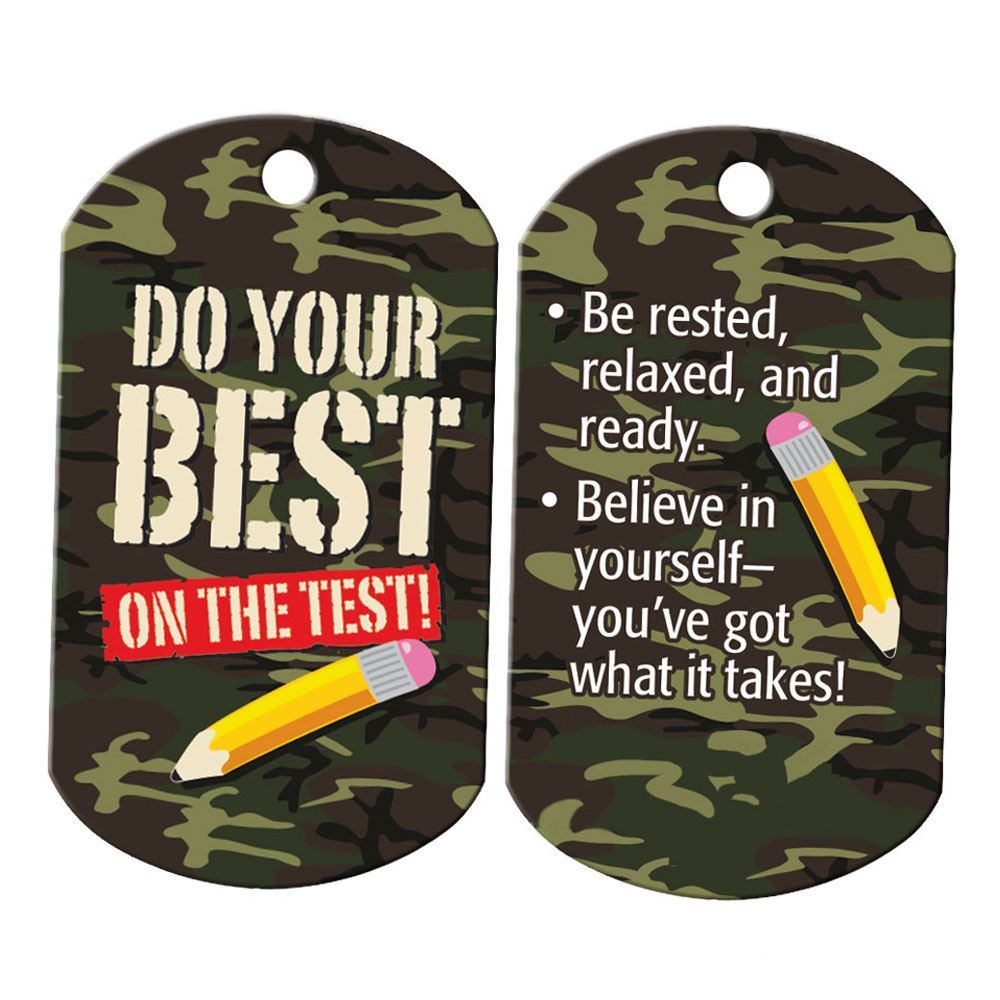 "Do Your Best On The Test! Camouflage Tags With 24"" Chains - Pack of 25"